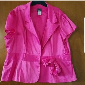 Dot Silky Feel Pink Cover Jacket Blouse Sash